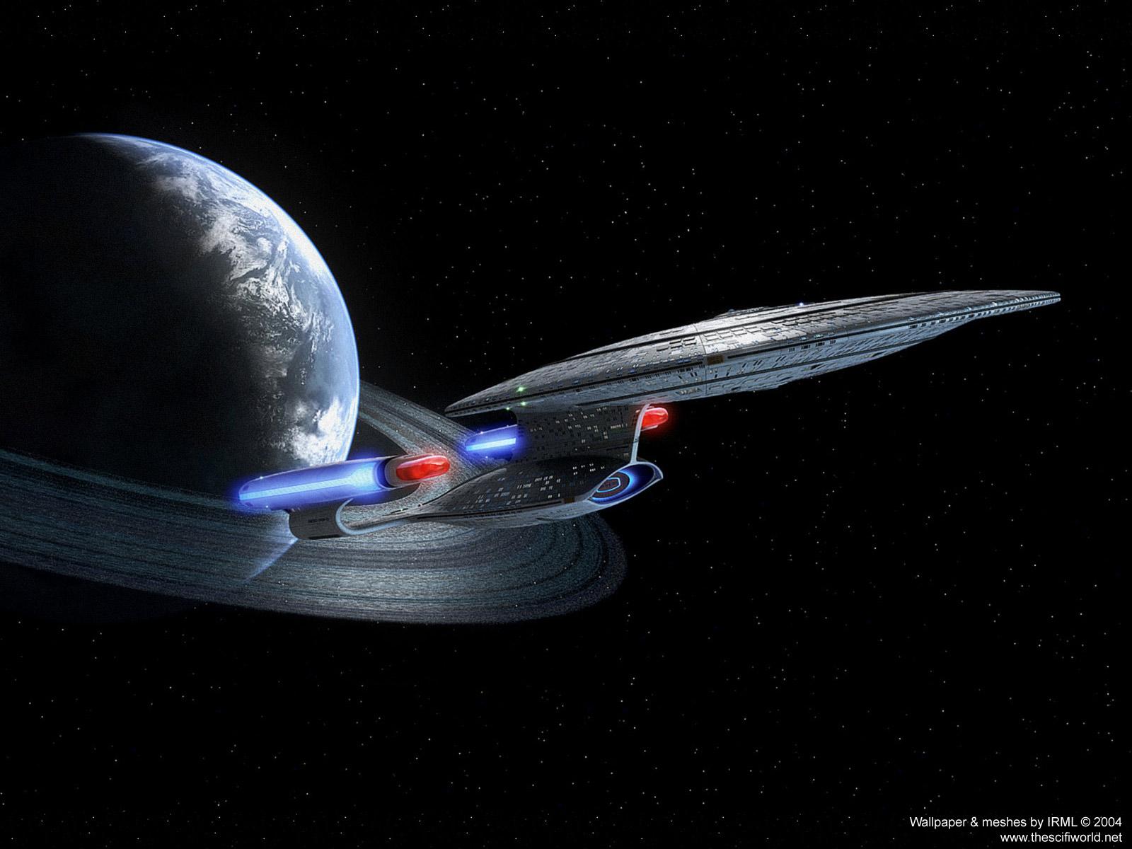 Enterprise leaving orbit   Star Trek computer desktop wallpaper 1600x1200