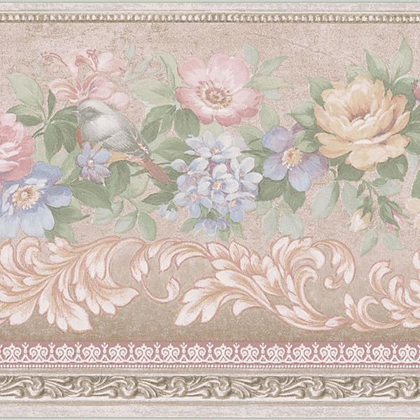 451 1651 Peach Birded Floral Scroll   Brewster Wallpaper Borders 600x600