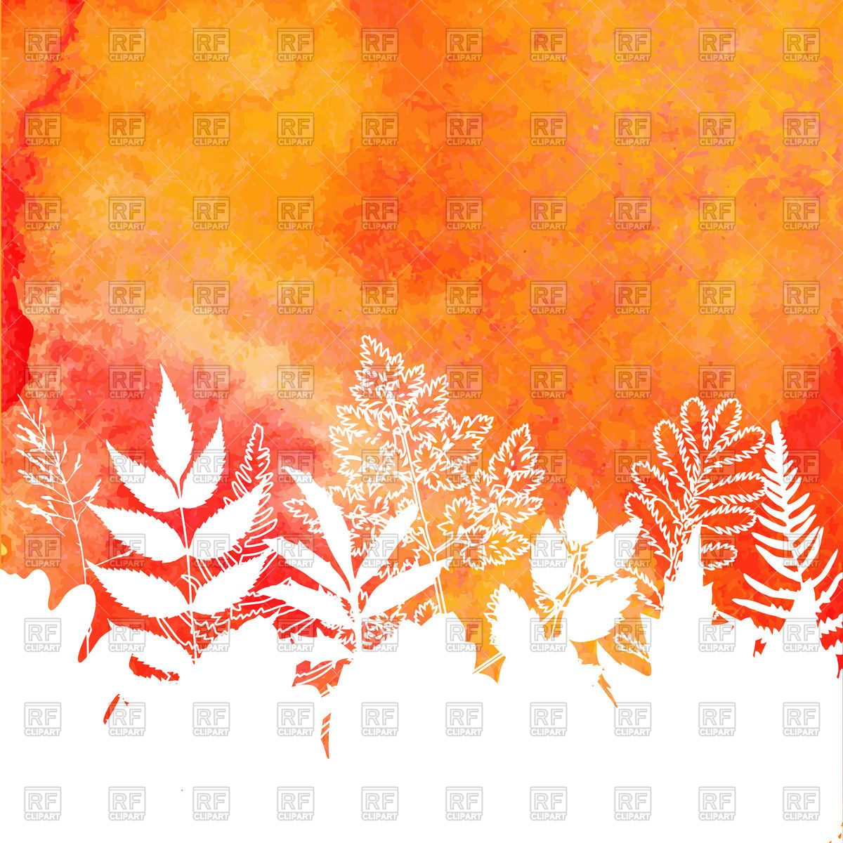 Orange watercolor painted background with autumn foliage Vector 1200x1200