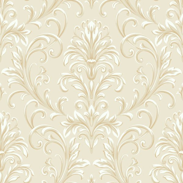 Cream and Gold Feathered Damask Wallpaper   Wall Sticker Outlet 600x600