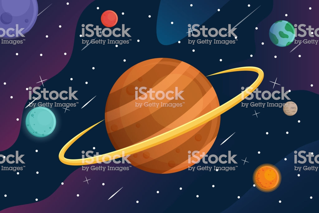 Galaxy With Cartoon Planets In Space Background Stock Illustration 1024x683