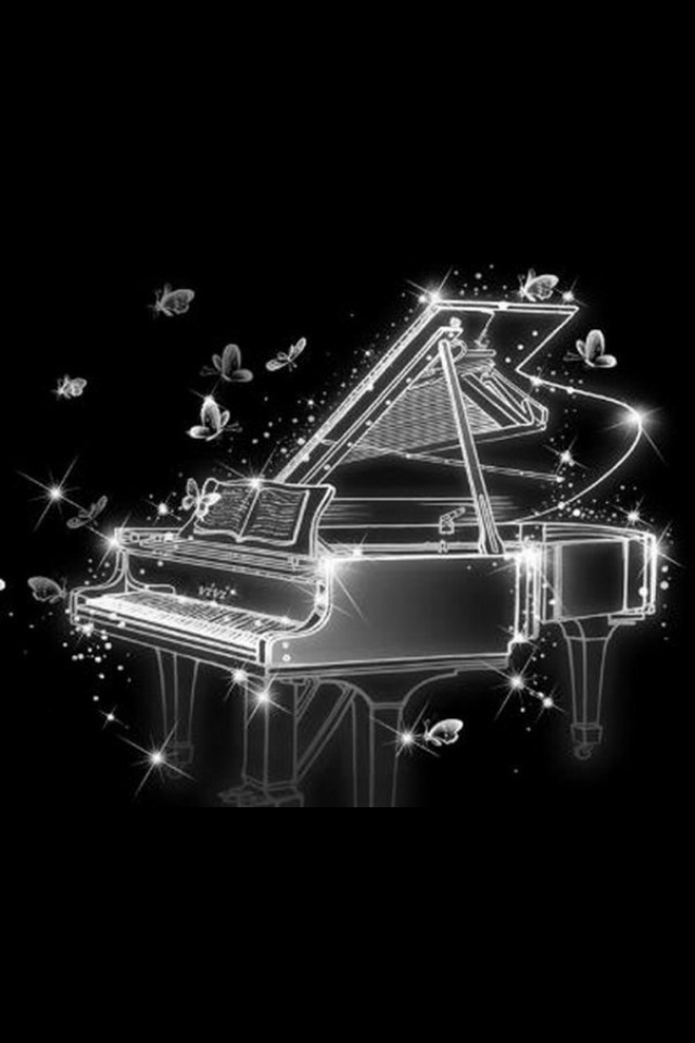 hd cool abstract piano and butterfly iphone 4 wallpapers backgrounds 640x960