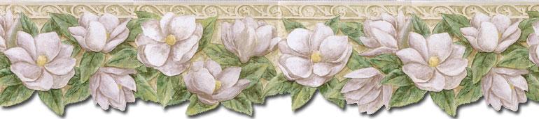 Details about Die Cut MAGNOLIA FLOWERS Wallpaper Border PT24023B 770x171