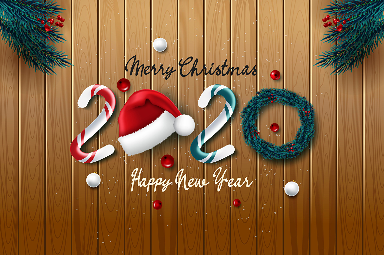 Images 2020 Christmas English Winter hat Balls Wood planks 1280x851