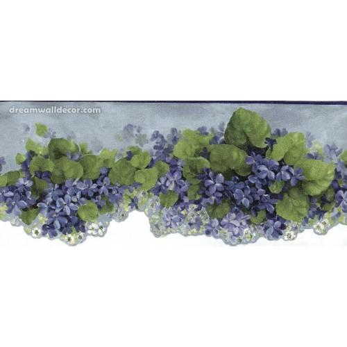 Blue African Violet Flower Wallpaper Border 500x500