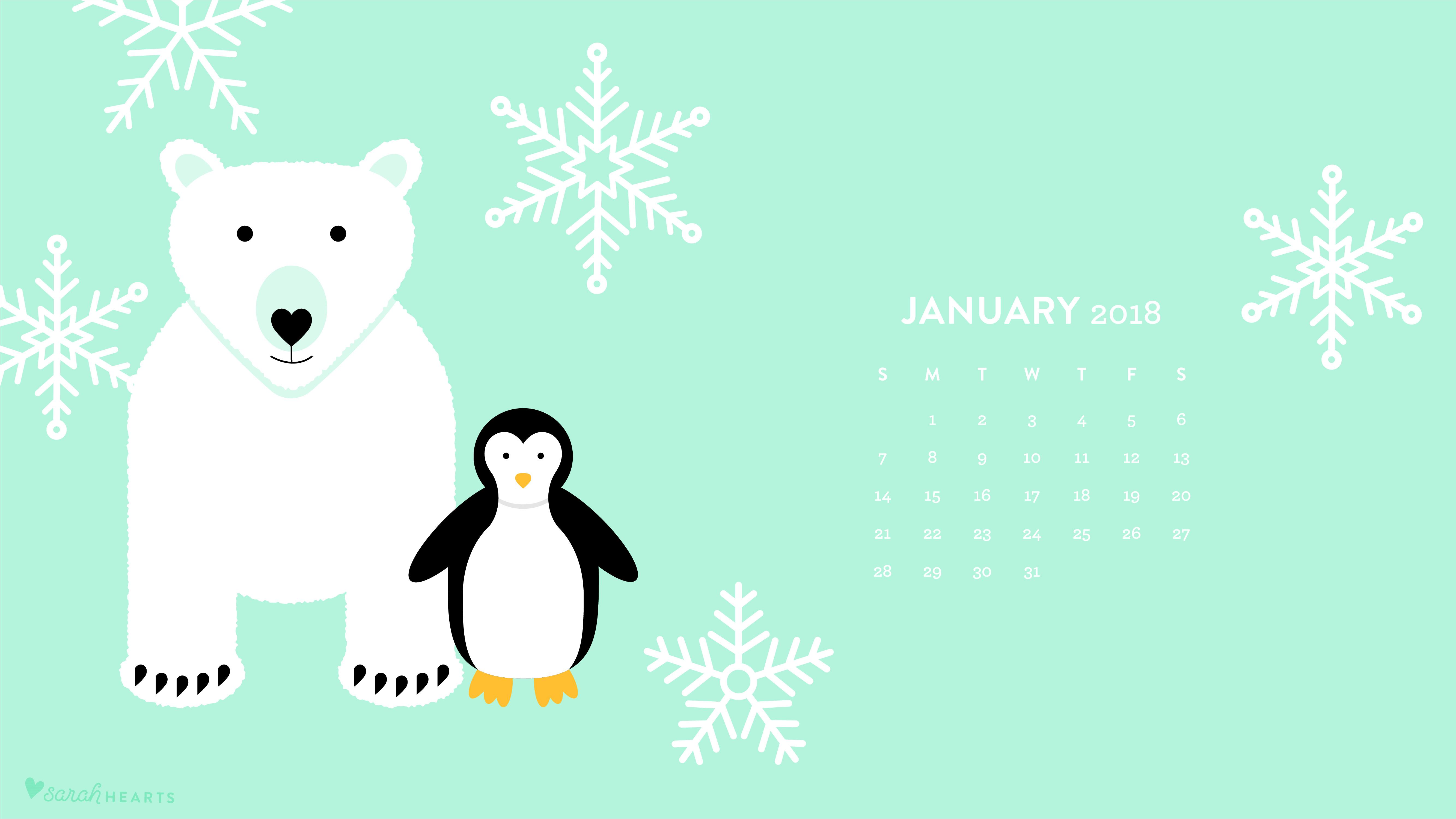 Polar Bear and Penguin January 2018 Calendar Wallpaper 5334x3001