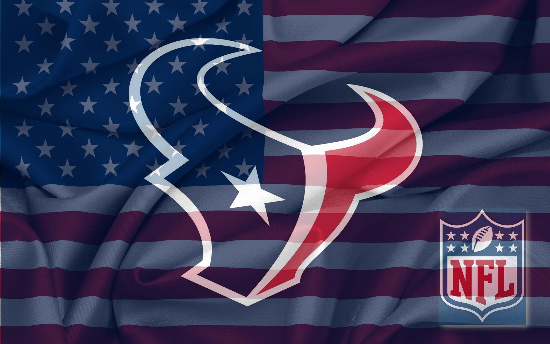 NFL Houston Texans Logo With NFL Logo On USA American Flag Background 1920x1200