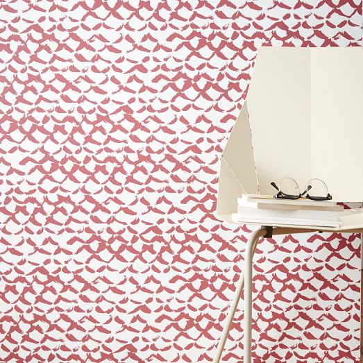 Chasing Paper Wall Panel   Red Brush Stroke west elm 523x523