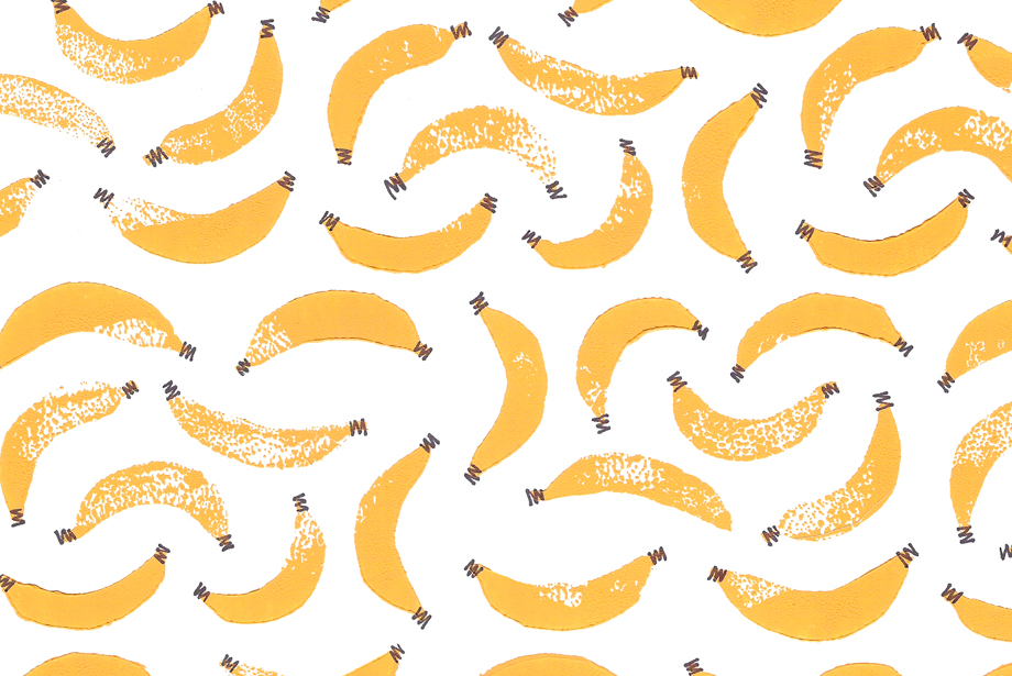 Banana print Pattern carved out of block print yellow printing ink 920x615