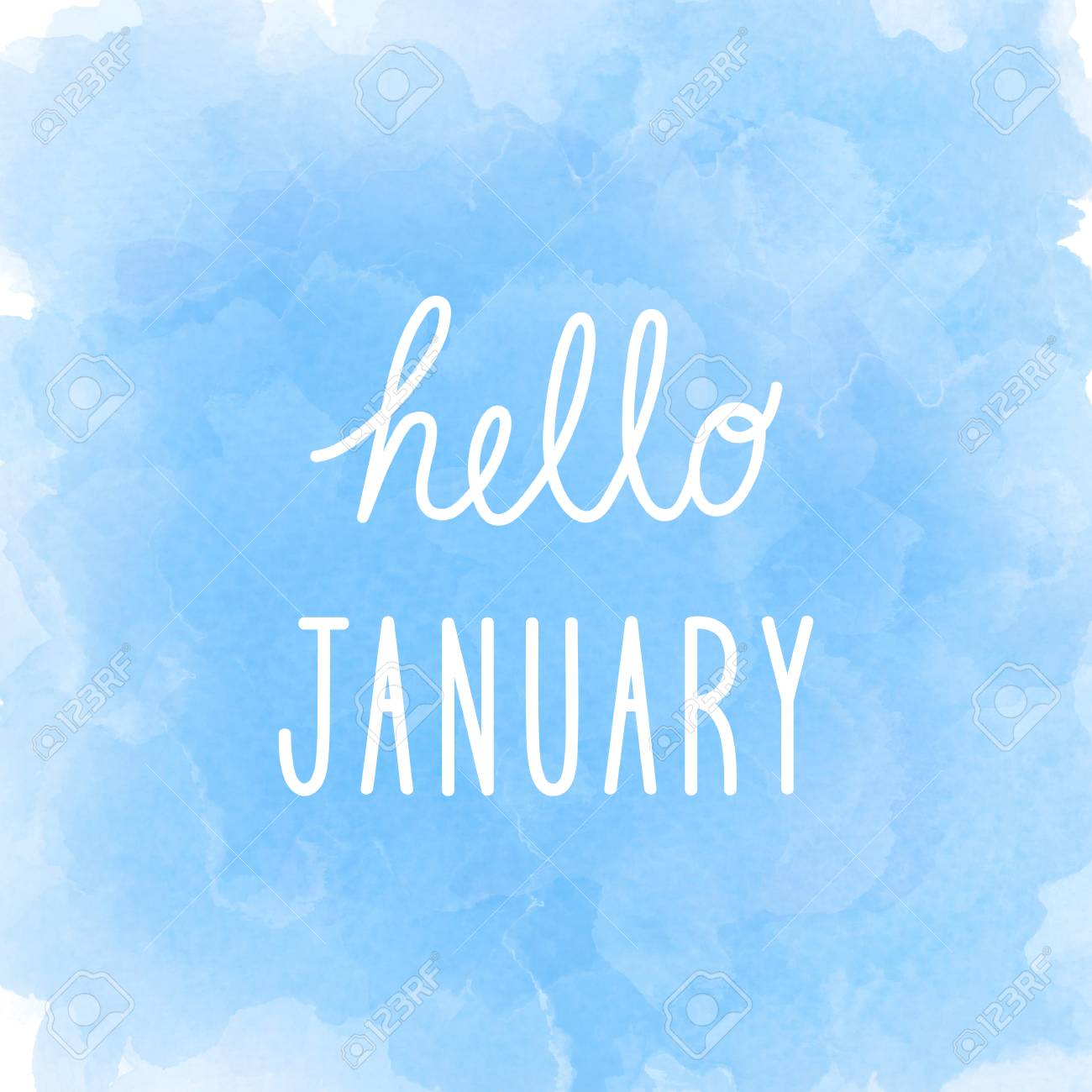 Hello January Greeting On Abstract Blue Watercolor Background 1300x1300