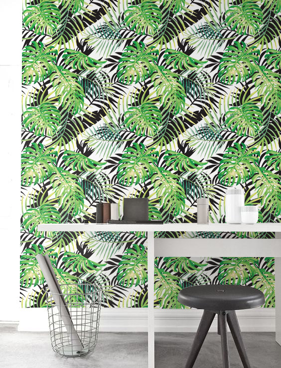 Palm leaves Monstera Wallpaper Removable Wallpaper Self adhesive 564x737
