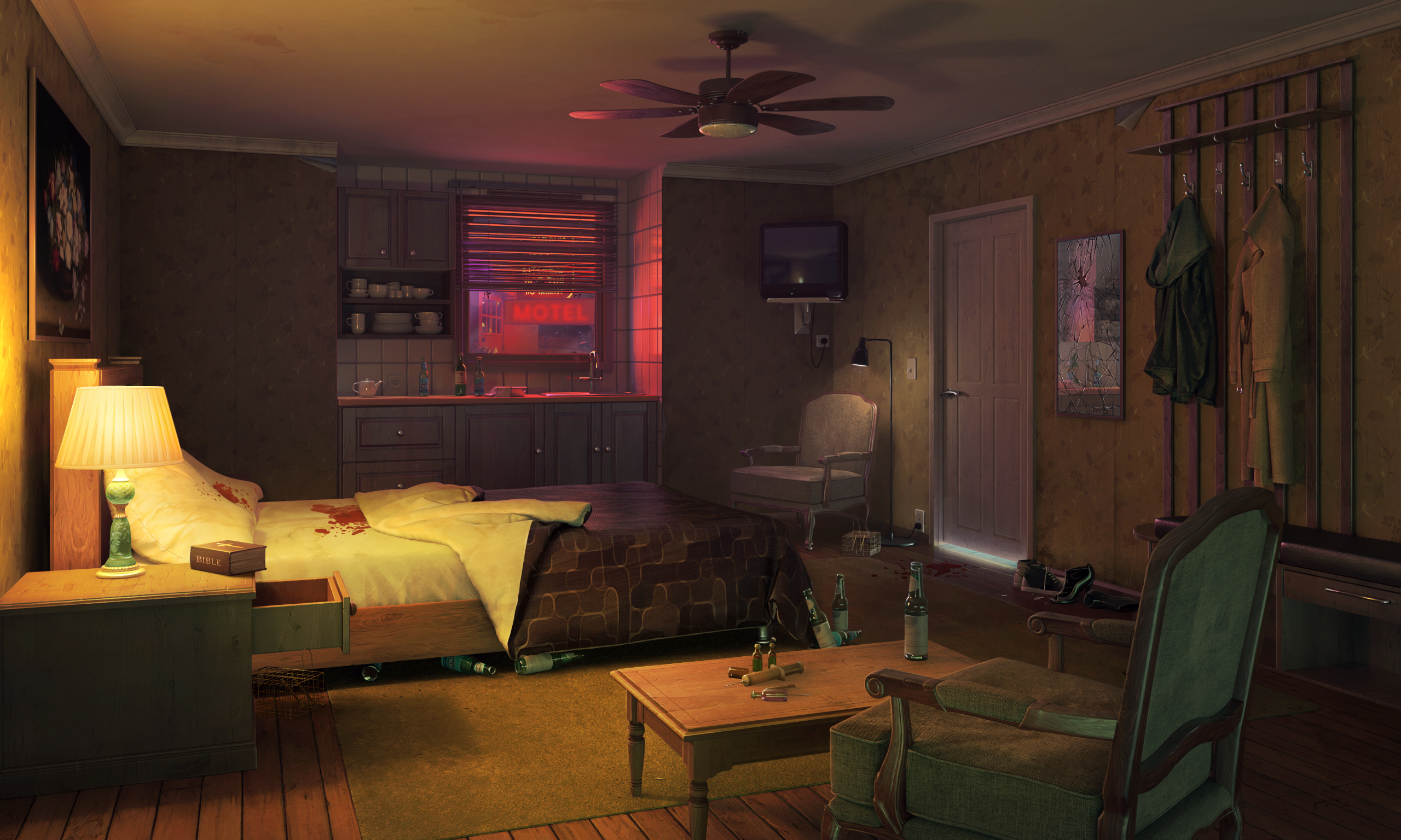 Motel room xfiles background deepstate motel Background 2560x1536