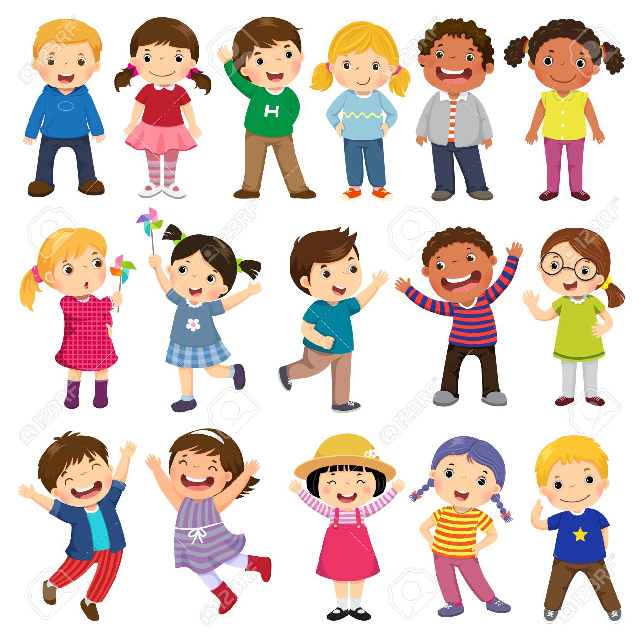Happy Kids Cartoon Collection Multicultural Children In Different 1300x1300