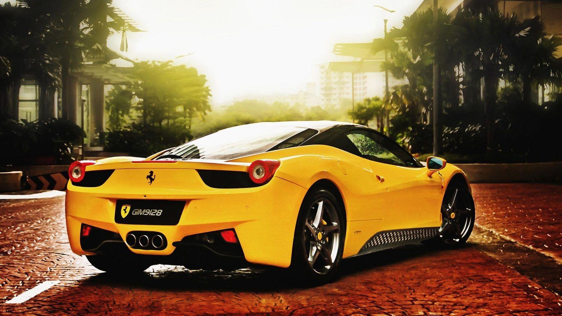 Super Yellow Ferrari HD Wallpaper   HD 1920x1080