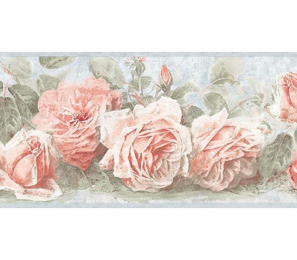 Soft Blue Pink Vintage Rose Wallpaper Wall Border 600x525