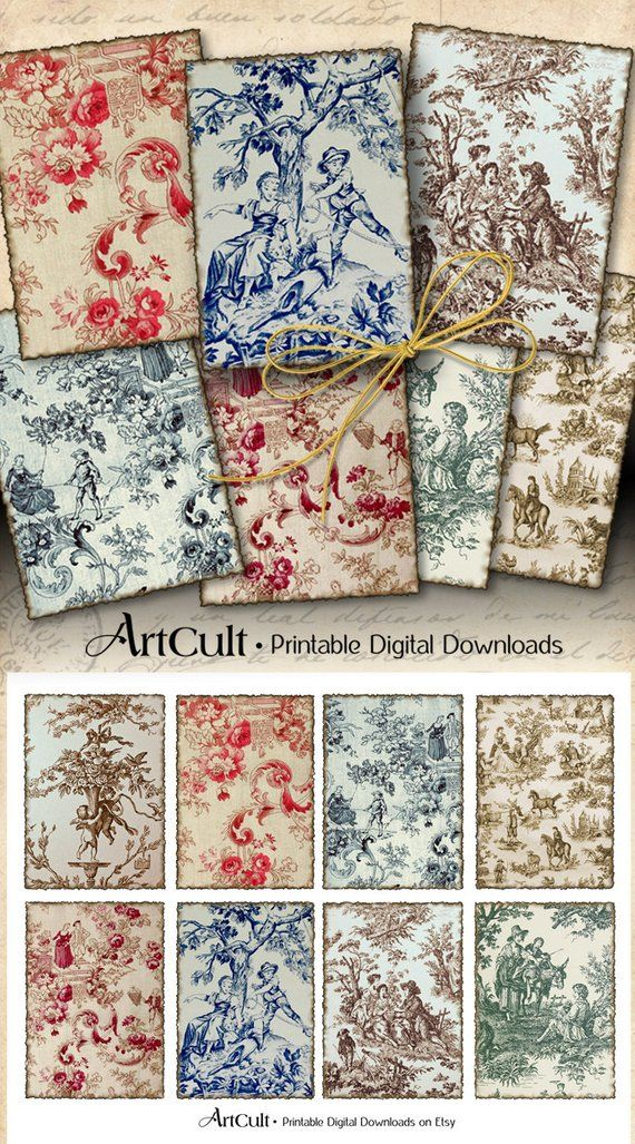 Printable Download OLD FRENCH TAPESTRY 25x35 inch gift tags 570x1027
