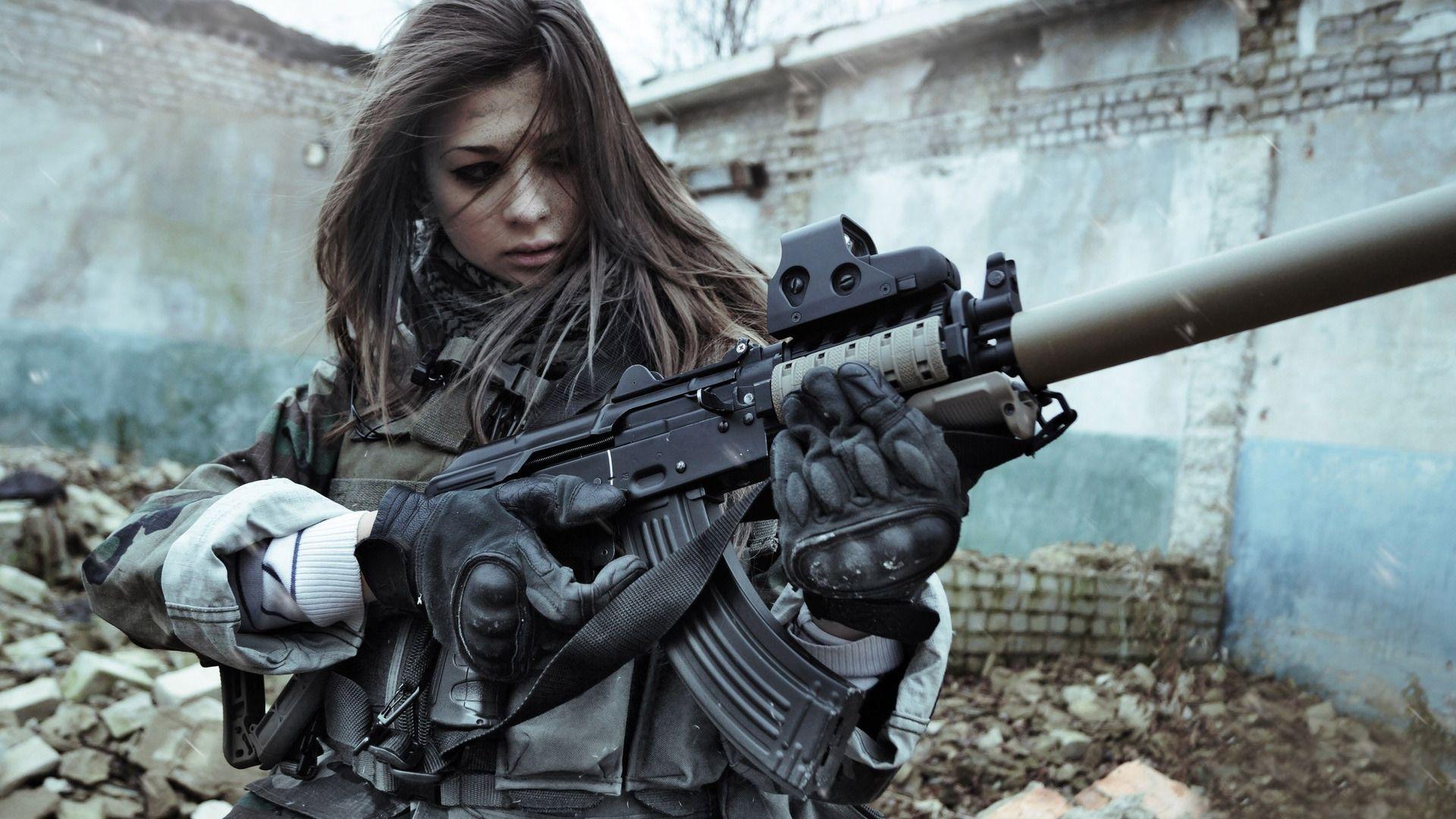 Woman Soldier wallpaper in 2019 Girl guns Guns Female soldier 1920x1080
