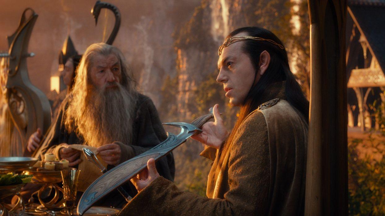 Movies Gandalf The Hobbit Hugo Weaving Ian Mckellen swords Elrond 1244x700