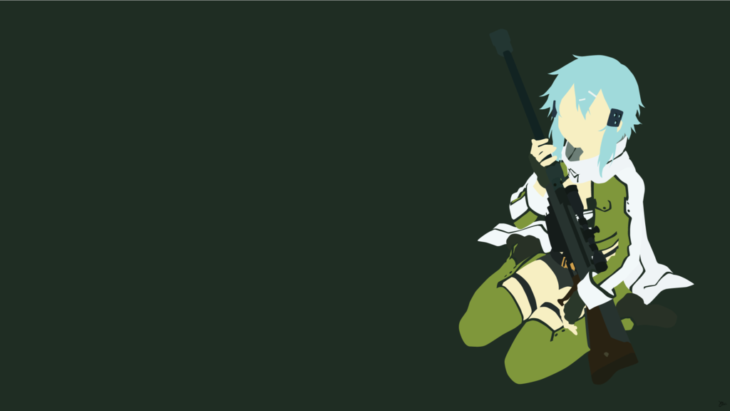 Sinon Sword Art Online Minimalist Wallpaper by greenmapple17 1024x576