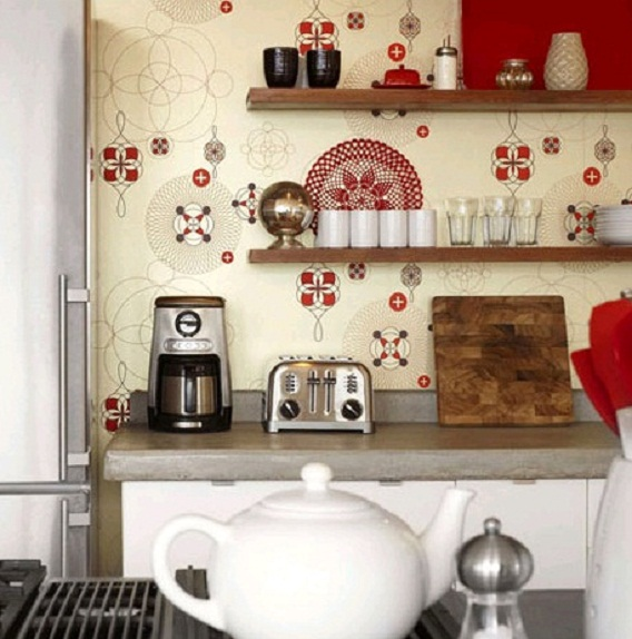 wall wallpaper design   Country kitchen wallpaper design ideas design 568x574