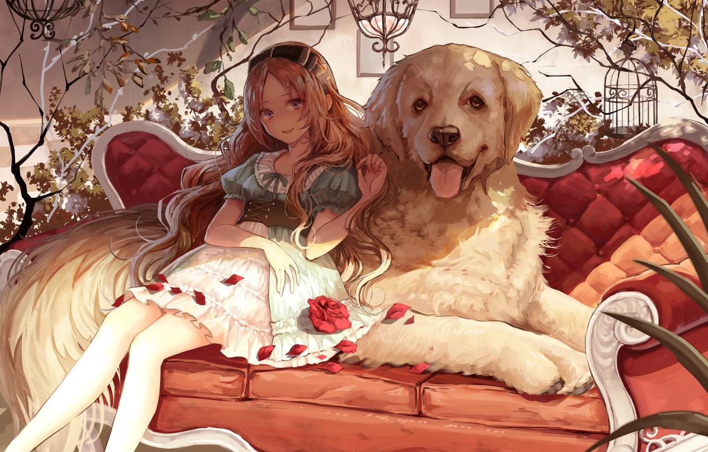 Anime Girl With Her Pet Dog readersaddict 1332x850