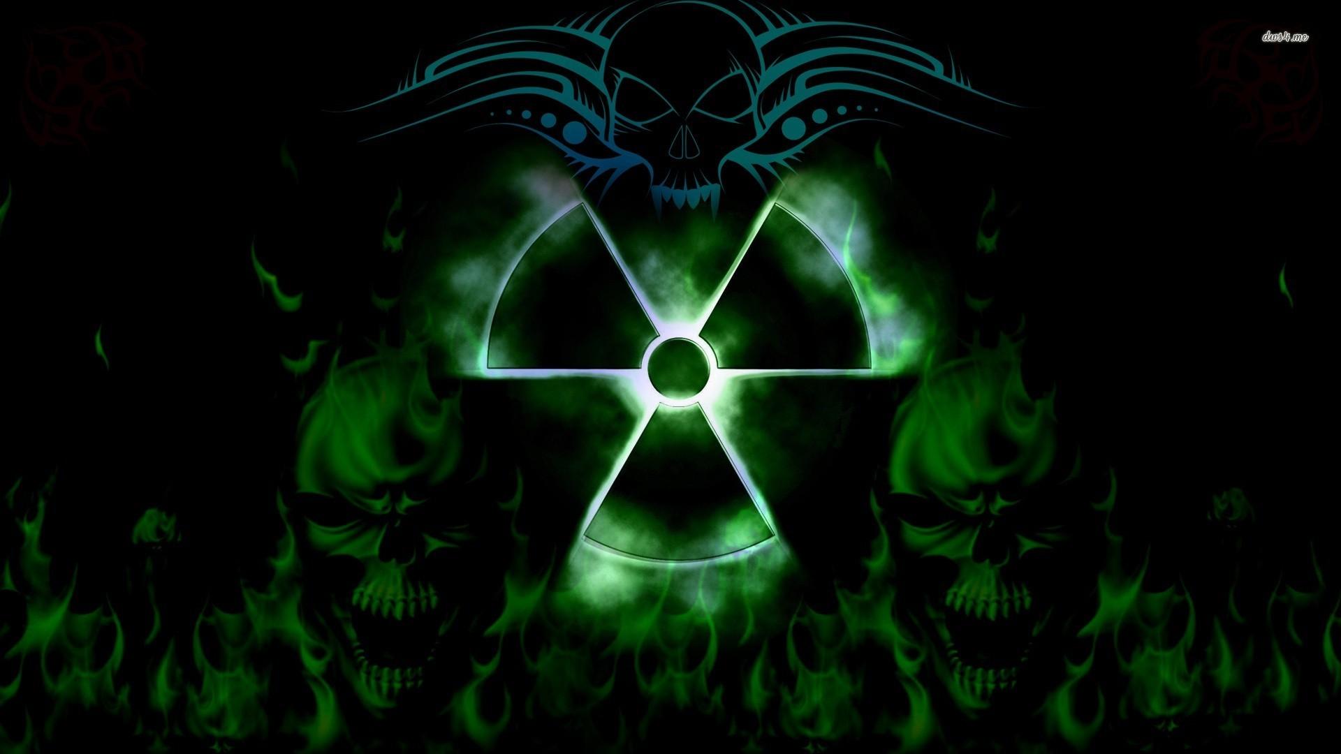 neon blue toxic symbol