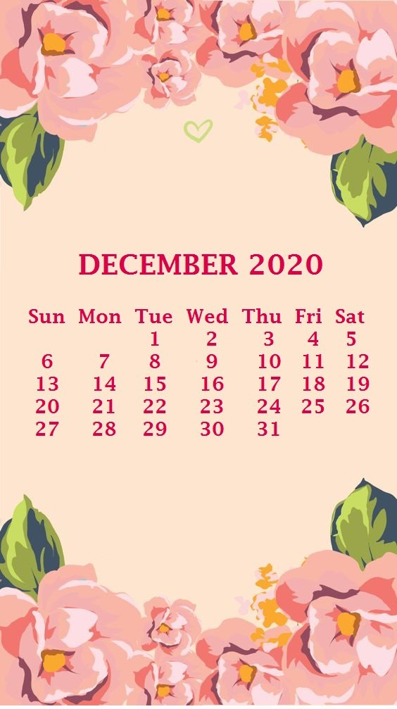 44] December 2020 Calendar Wallpapers on WallpaperSafari 564x1007