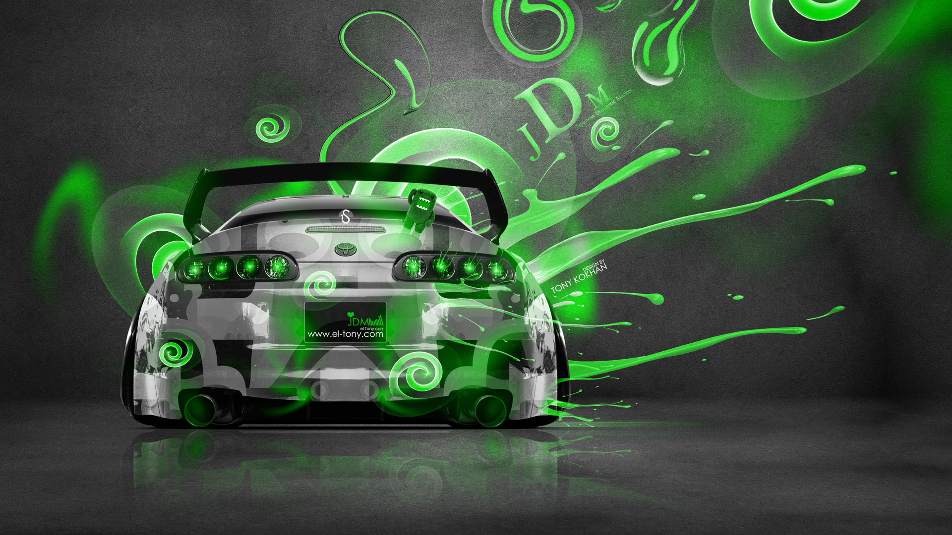 tony style back 3d green neon car 2014 hd wallpapers design by tony 1920x1080