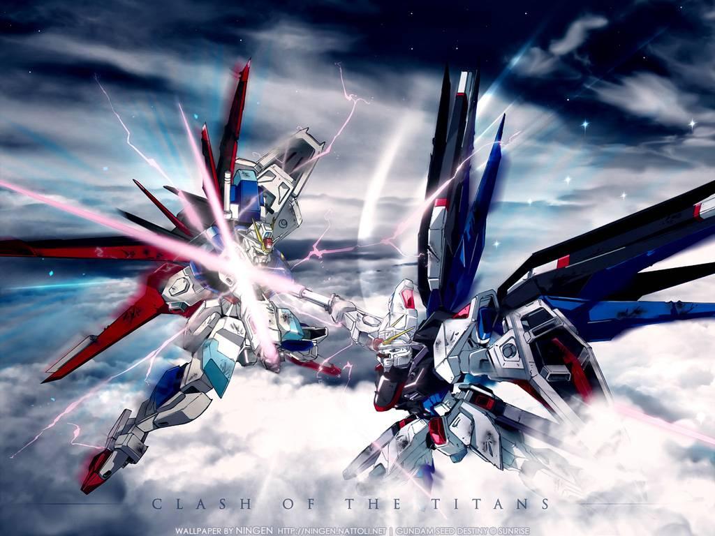 Sword Impulse VS Strike Freedom   Gundam Seed Wallpaper 1024x768