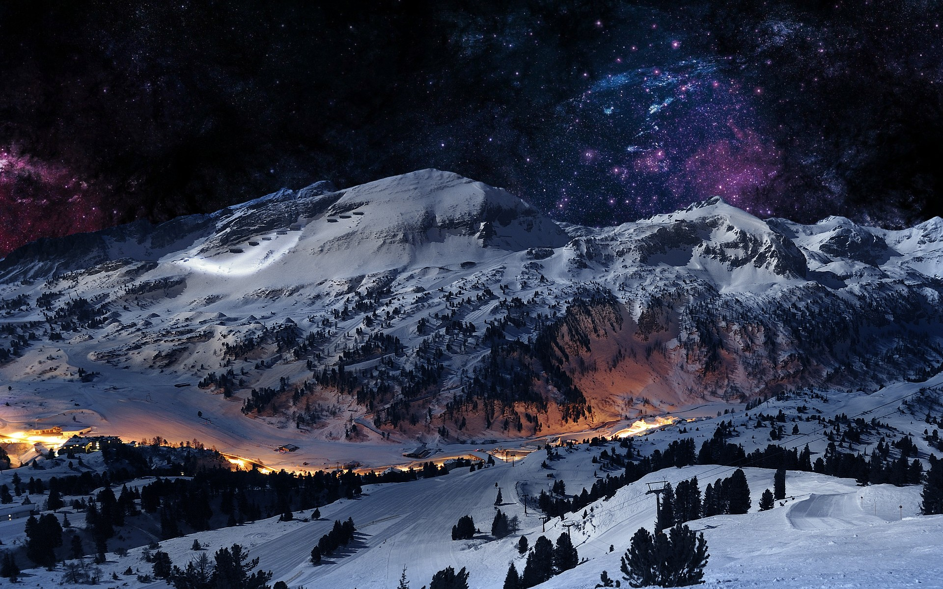 Wallpapers mountains landscapes winter digital art scene night 1920x1200