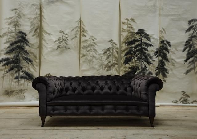 De Gournays new Abstract Pines Wallpaper shown with a reupholstered 640x453
