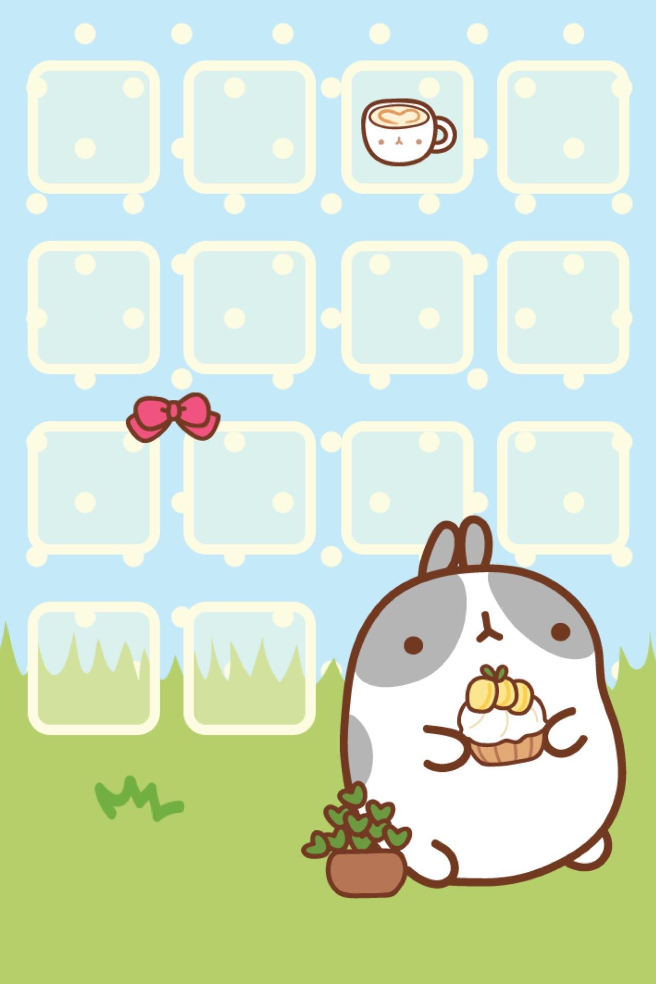 Hd wallpaper kawaii - Molang Iphone Theme Wallpaper Kao Ani Com