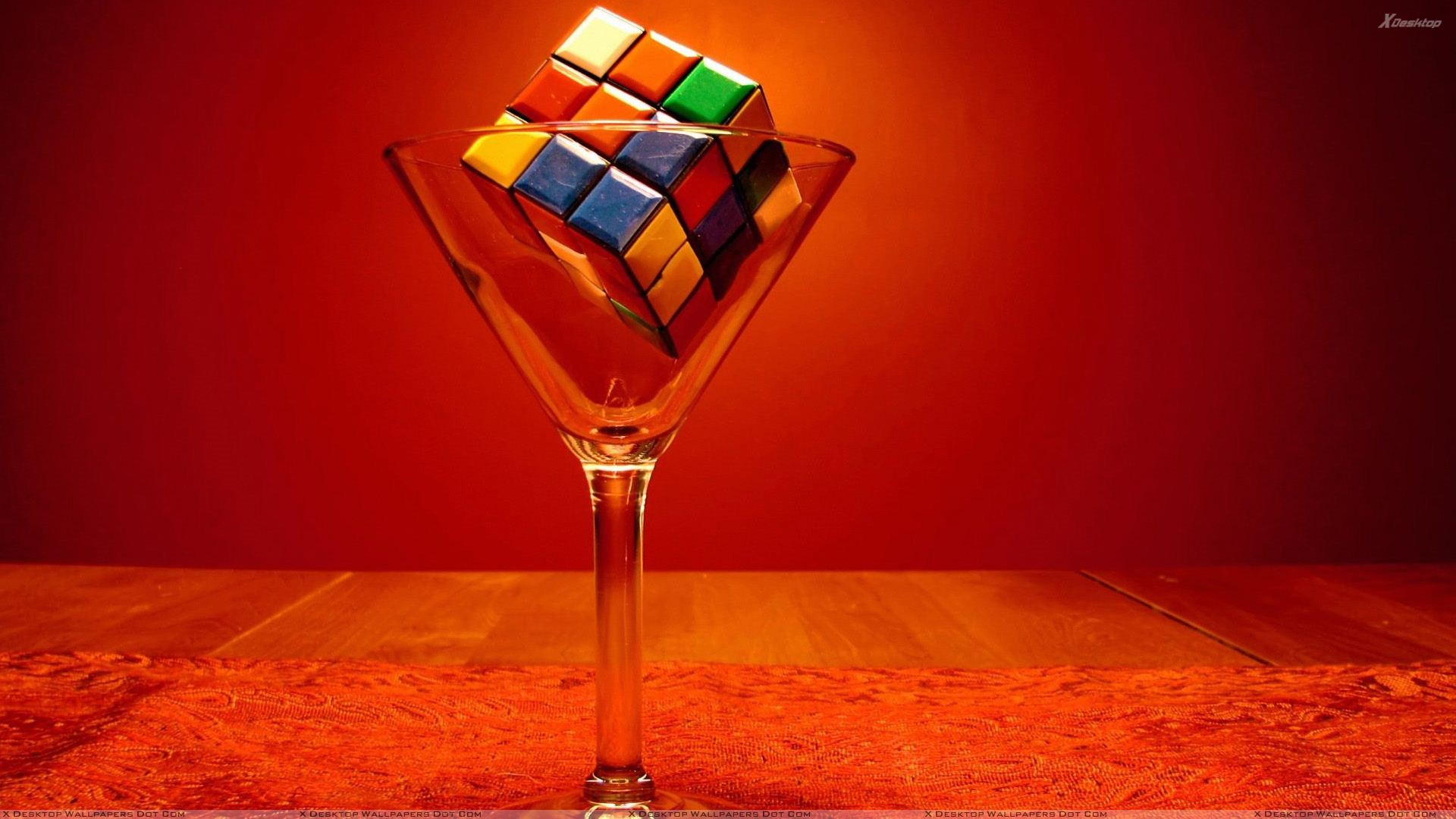 Colorful Puzzle Cube In Wine Glass Wallpaper 1920x1080