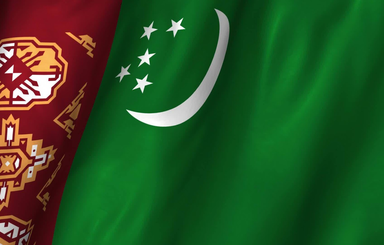 Wallpaper flag green ornament Turkmenistan images for desktop 1332x850