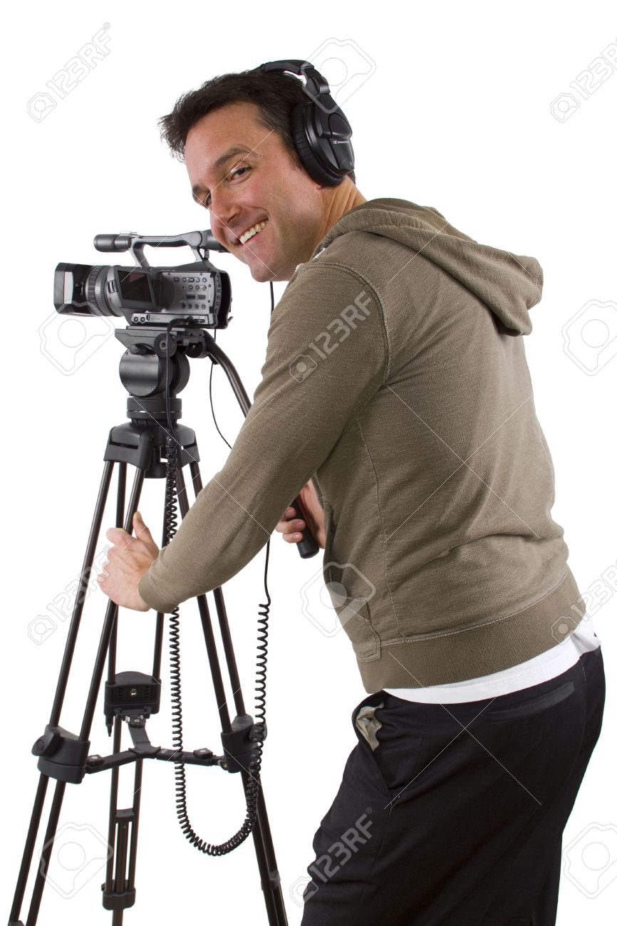 Video Camera Operator With Tripod On White Background Stock Photo 866x1300