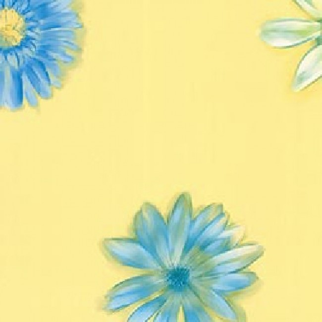 GIRLS BLUE WHITE DAISIES ON YELLOW WALLPAPER   All 4 Walls Wallpaper 650x650