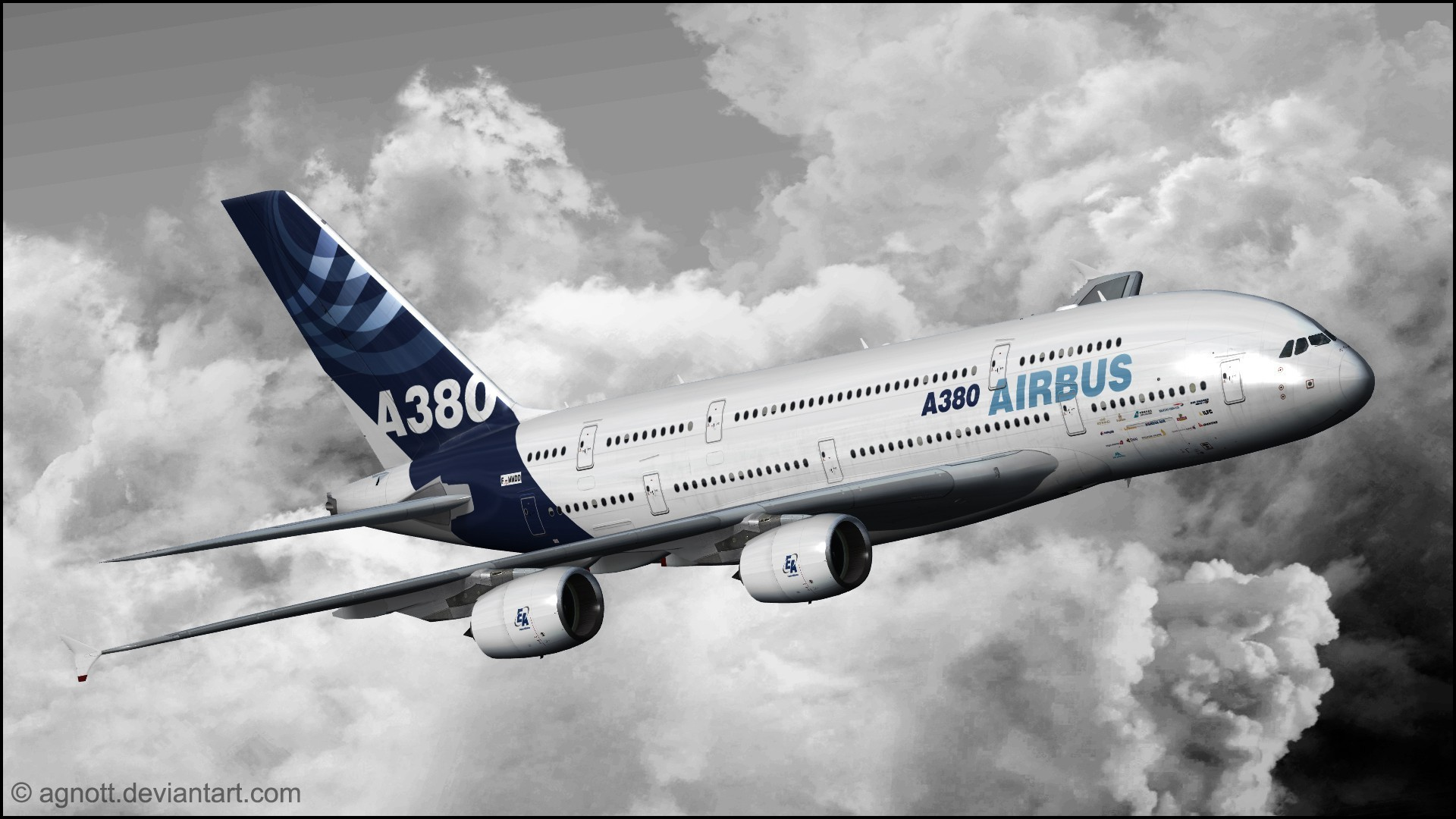 Airbus a380 aircraft aviation clouds wallpaper 1920x1080