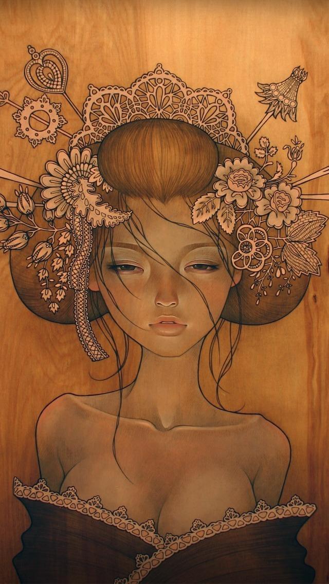Audrey Kawasaki Painting Art Wallpaper   iPhone Wallpapers 640x1136