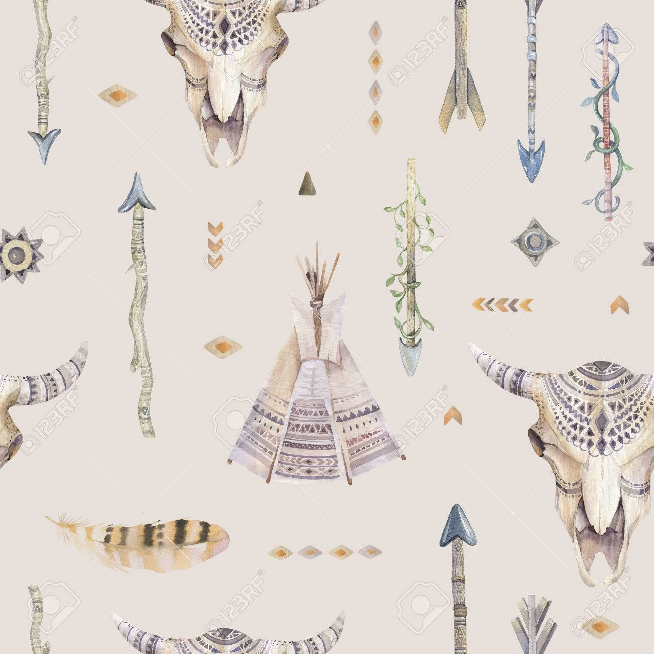 Watercolor Boho Seamless Pattern With Teepee Arrows Feathers 1300x1300