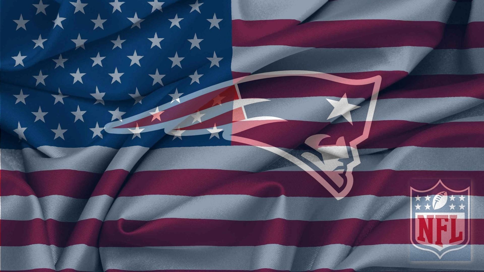 New England Patriots Logo With NFL Logo On USA Flag Wavy Canvas 1920x1080