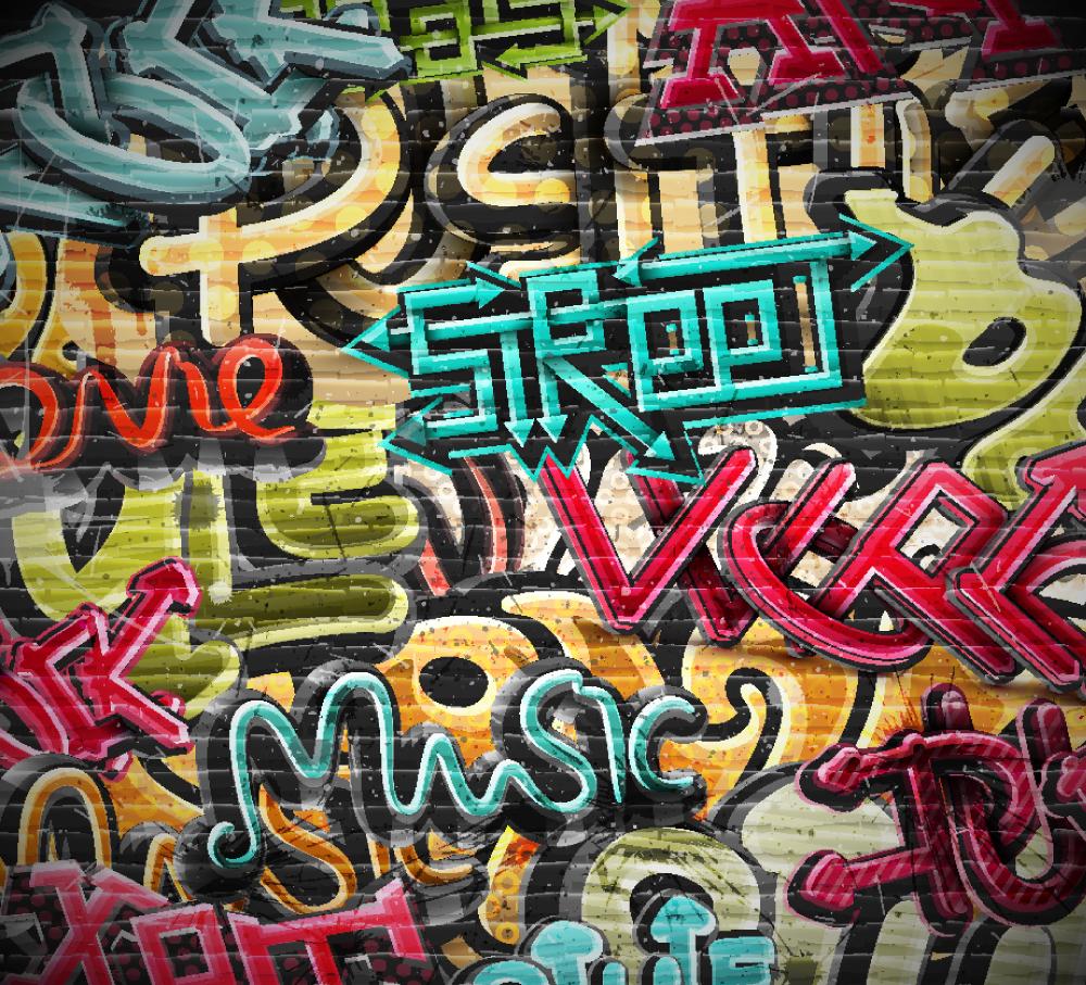 Graffiti Grunge Wall Mural ohpopsi Wallpaper 1000x907