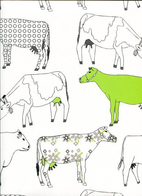 Ordinaire Retro Farm Kitchen Wallpaper Shabby Chic COW Red Green Blue Vintage 465x640