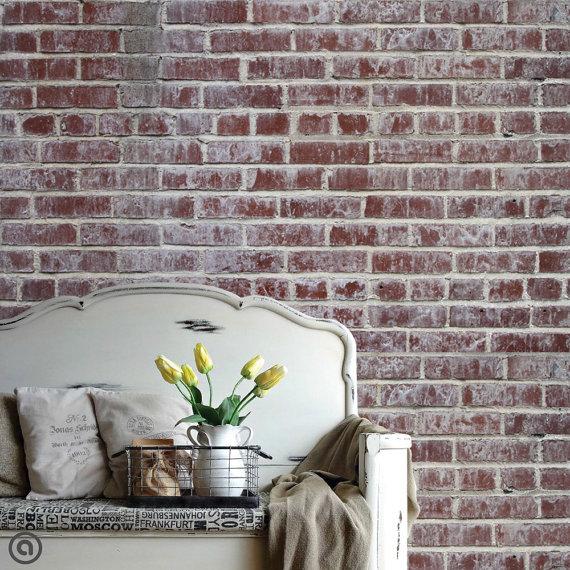 Removable Brick Wallpaper  Distressed  Peel Stick Self Adhesive 570x570