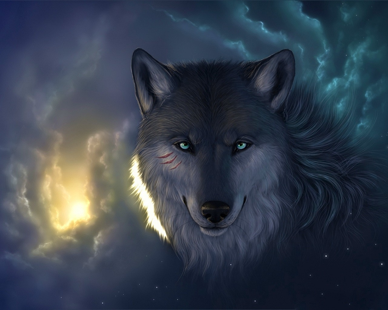 Wallpaper wolf clouds cuts eyes muzzle light stars wallpapers 1280x1024
