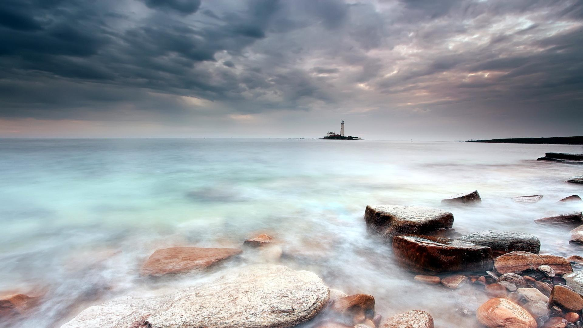 lighthouse on the shore wide desktop background hd wallpapers Car 1920x1080
