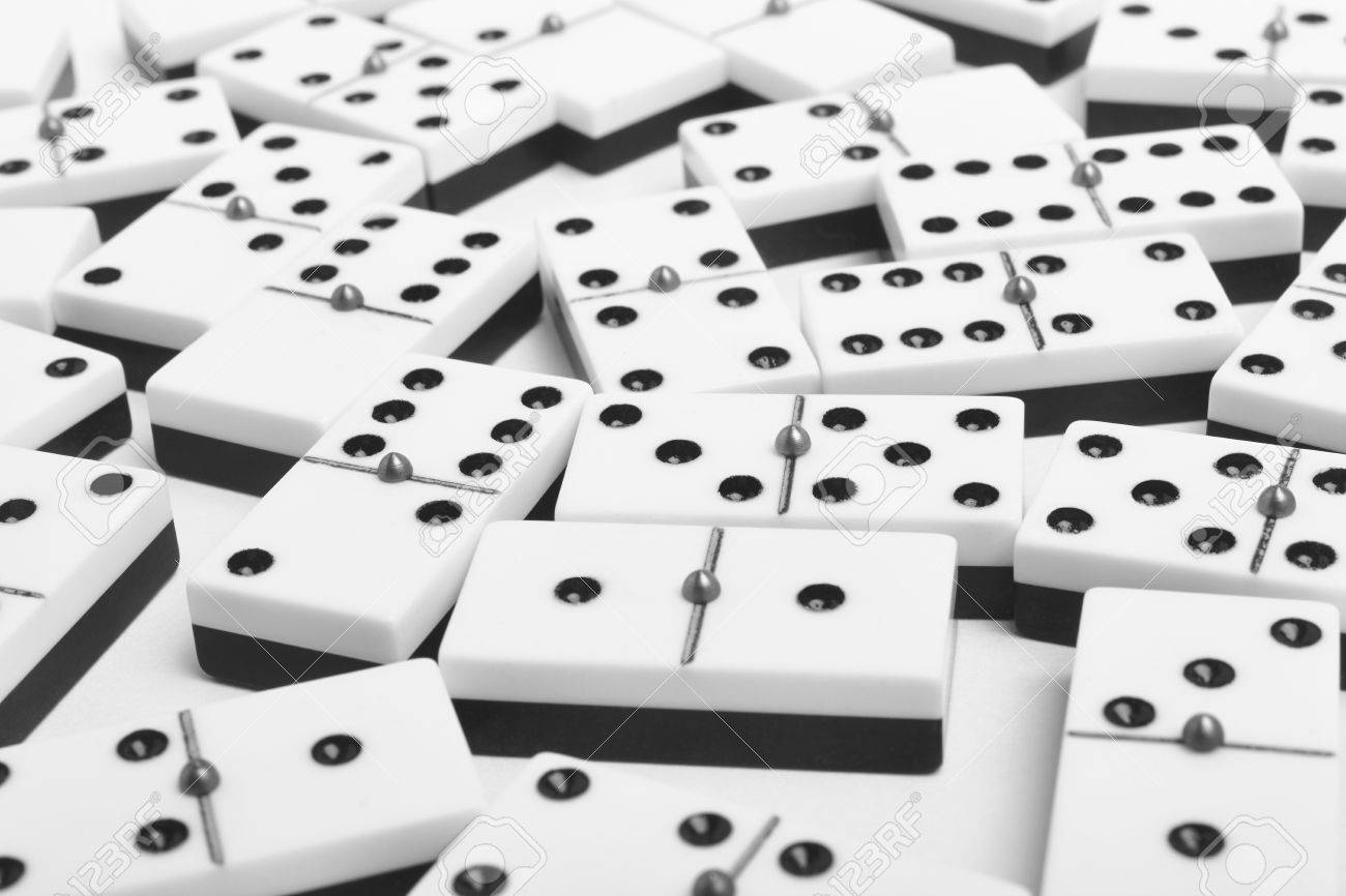 Domino Game With Pieces Over A White Background Black White 1300x866