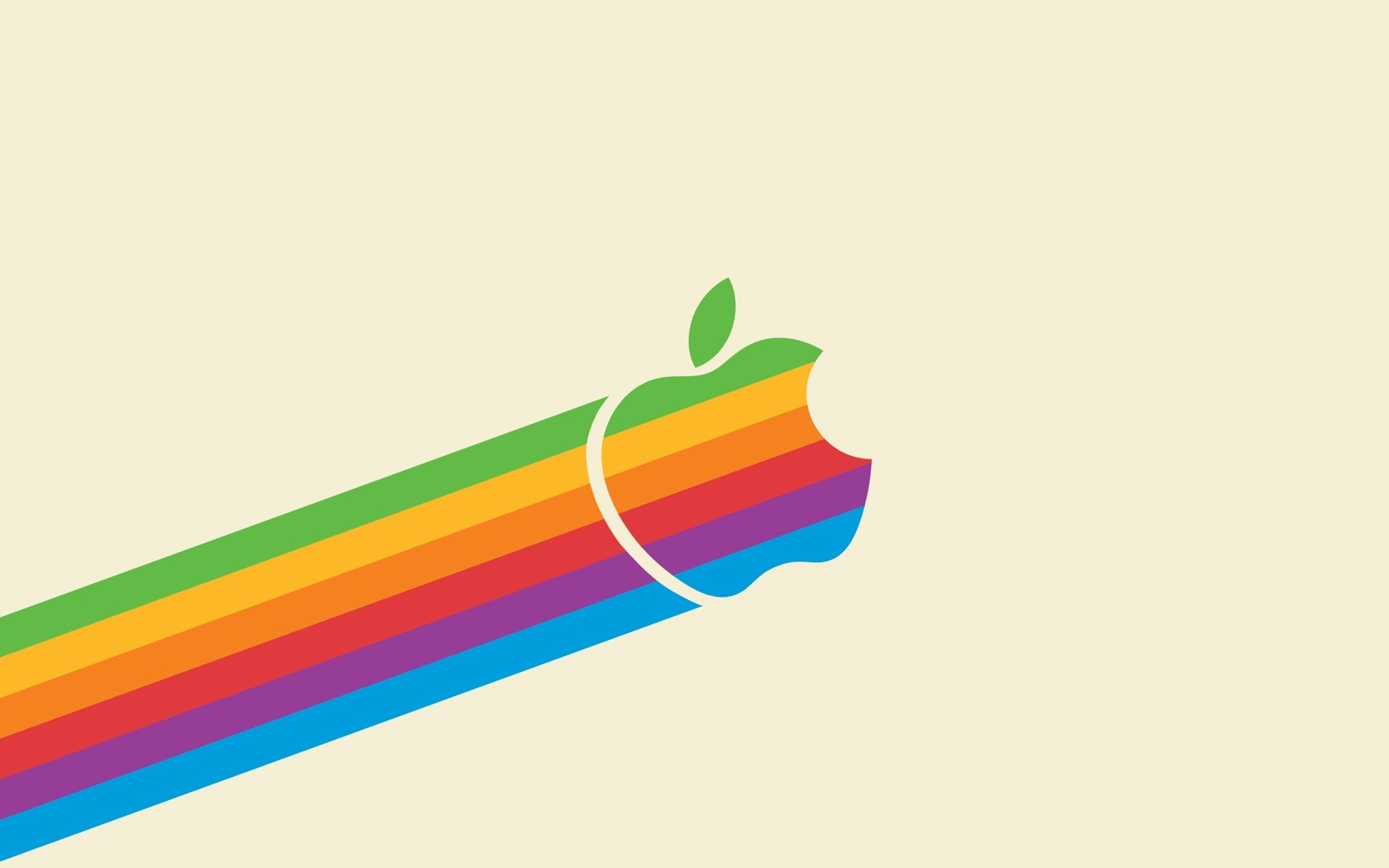 Flying Retro Rainbow Apple Light 1920x1200