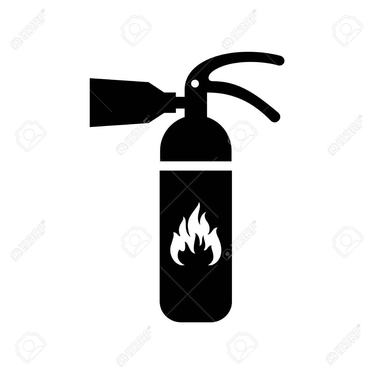 Black Fire Extinguisher Icon Isolated On White Background Flat 1300x1300