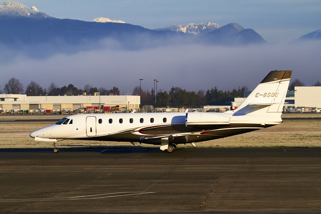 Cessna 680 in Vancouver with some fog in the background Flickr 1024x683