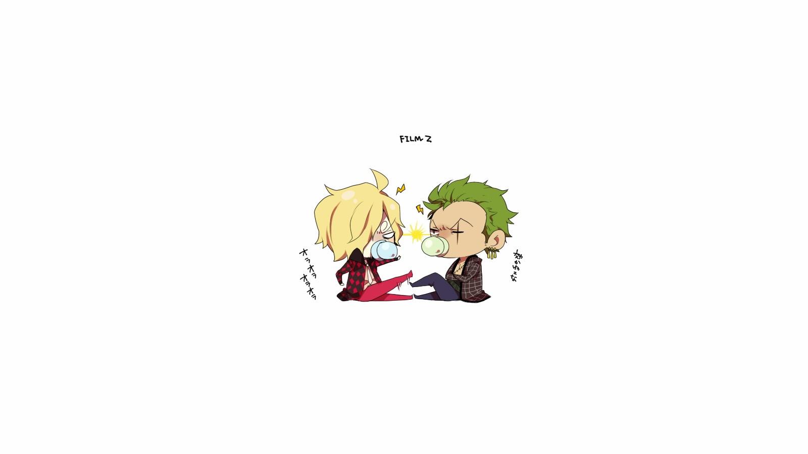 zoro and sanji cute chibi one piece anime hd wallpaper 1600x900 2t 1600x900